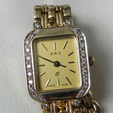 """ Oro ""  women's watch 1998 585 14K Swiss Made  women's wristwatch with brilliant adornment W-SI 14 kt 585  Gold mechanical automatic"