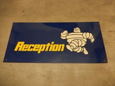 Michelin Reception - Vintage Original Metal Garage Sign - Approx 57 cm x 26.5 cm