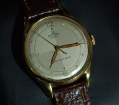 Bifora Stainless steel and gold doublé, 20 micron 18kt gold plated -- top indices and dial -- new leather strap -- in very good condition for its age