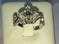 Diamond ring in 18 kt white gold with HRD certificate