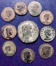 Roman Empire - Philip the Arab (sestertius), Constantine (follis), Crispus (follis), Diocletian (antoninianus) - Lot of 10 coins (AE) - Lower Empire period