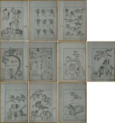 Ten original single woodcuts from Hokusai Manga 6 by Katsushika Hokusai (1760-1849) – Japan – circa 1840-1850