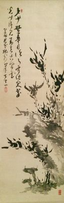 'Bamboo' by Izumi Chito (1849-1928) Beautiful handpainted scroll with calligraphy, signed and sealed - Japan - ca. 1920