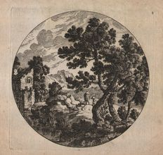 Cornelis Danckerts I 1603 - 1656) - Landscape in round with trees - Circa 1620-1650