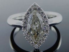 White gold ring with a marquise cut diamond and surrounding diamonds, 1.20 ct in total. ***No reserve price***