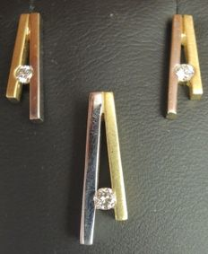 White and yellow gold set with earrings and a pendant with diamond