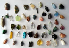 Large and various Lot of Semi-precious stone and Mineral pendants - 12 to 40mm  (48)