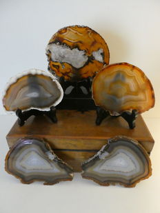 Fine, large Agate slices - 9 to 12cm - 762gm  (5)