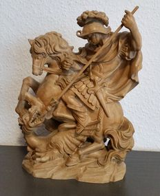 Wooden figure, St. George the dragon slayer