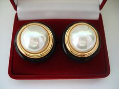 Vintage Couture (1970s)- Signed Christian Dior - Gold Plated Enameled Huge Simulated Pearl Earrings