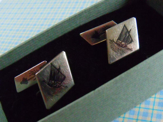 Antique, Egyptian, hand etched silver cufflinks, around1900.