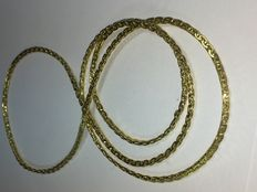 Curb chain 585 gold necklace 32g without clasp