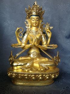 "Bronze ""gold face"" Avalokitesvara – Nepal – late 20th century"