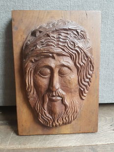 Wooden art deco carved head Jesus -the Netherlands - early 20th century