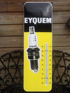 """Enamel Thermometer for """"Eyquem"""" spark plugs from the 60s."""