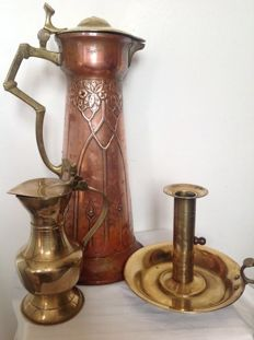 Copper - Pitcher - Candlestick- 3 items