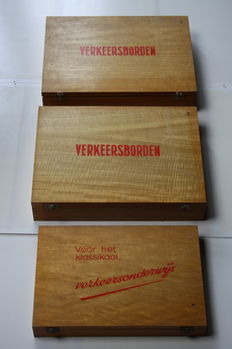 Three beautiful wooden chests with educational attributes