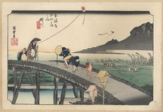 "Woodblock print of Utagawa Hiroshige (1797-1858) from the famous series ""Fifty-Three stations of the Tokaido"" (Hoeido edition, reprint) - Japan - Approx. 1900"