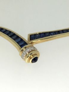 Necklace of 14 kt with sapphires and diamonds, 0.06 ct