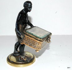 A Napoleon III partly gilded and cold-paint patinated jewellery box - with blackamoor - France - about 1860