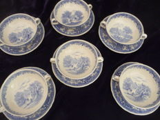 Villeroy & Boch - six soup bowls with saucers marked