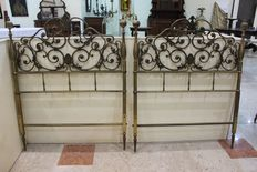 A pair of brass headboards - France - 19th century