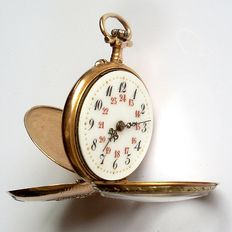 Outstanding  with 5 stones, 18kt massive gold pocket watch 12-24h circa 1900