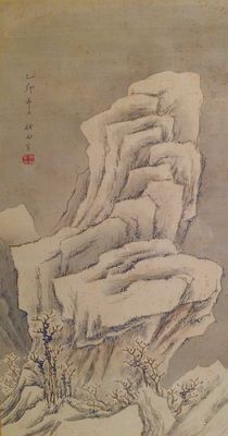 Scroll painting of a winter landscape scene on fabric – Japan – first half 20th century