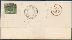 Stato Pontificio – 1852  – Sassone 3 on letter Feb. 1854 with L.C.F. stamp Oval with initials in reverse + round stamp Monterosi, stamped  A. Diena.