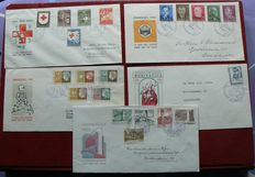The Netherlands, 1953/1954 - selection 5 FDCs - NVPH E14/E17 and E21.