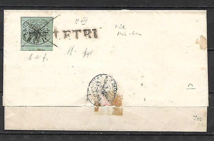 State of the Church, 1852 – 1 Baj – Used on envelope – Sassone no. 2a