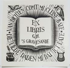 Maurits Cornelis Escher (1898-1972) - bookplate for G.H. 's Gravesande (Bool 322) - 1940