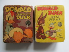 Donald Duck - 2 Big Little Books 1434 + 1462 - Donald forgets to Duck + Donald Duck gets fed up - hc - 1e druk (1939)