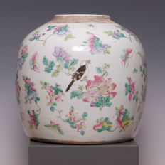 Large Famille rose ginger jar – decoration of a bird, flowers and butterflies – China –19th century.