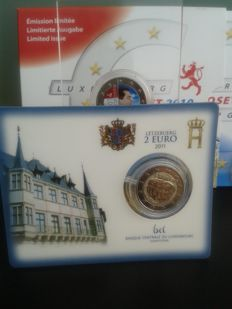 Luxembourg - Year Set 2010, Coincard 2 Euro 2011 & Colored 2 Euro 2014 (x2)