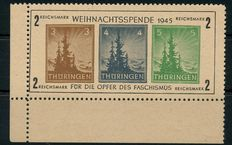 Soviet zone Thuringia - 'Christmas block on yellow-grey paper' (t) - Michel block 1 t tested Zierer BPP