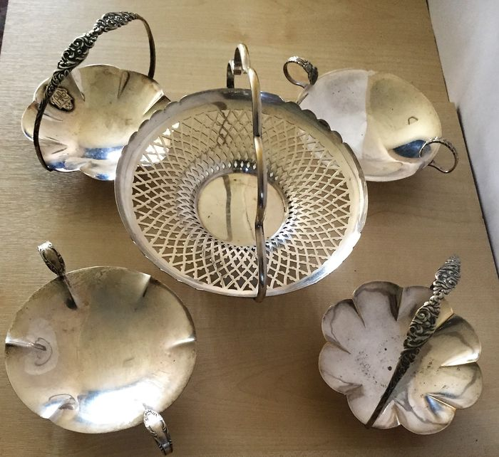 5 silver plated bon bon dish with handle,