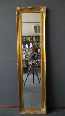 Particularly large full length mirror with facet cut glass -hand-gilded frame with ornaments - Gold