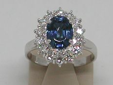 Lady Diana Diamond and sapphire ring total: 4,57ct. - 18kt gold