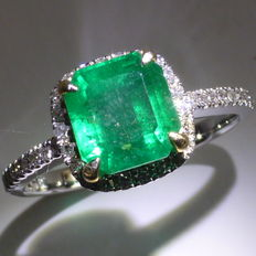 "14 kt. Emerald & Diamond Cluster Ring, finger size is 13/53 EU, ""6 1/2"" US or ""N"" UK"