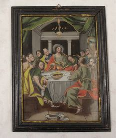 Religious painting behind glass 'The Last Supper', wooden frame black/gold, ca 1880