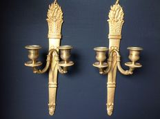 A pair of Empire style gilt bronze wall appliques - France, late 19th century