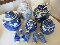 5 original ginger jars and 5 blue Chinese vases