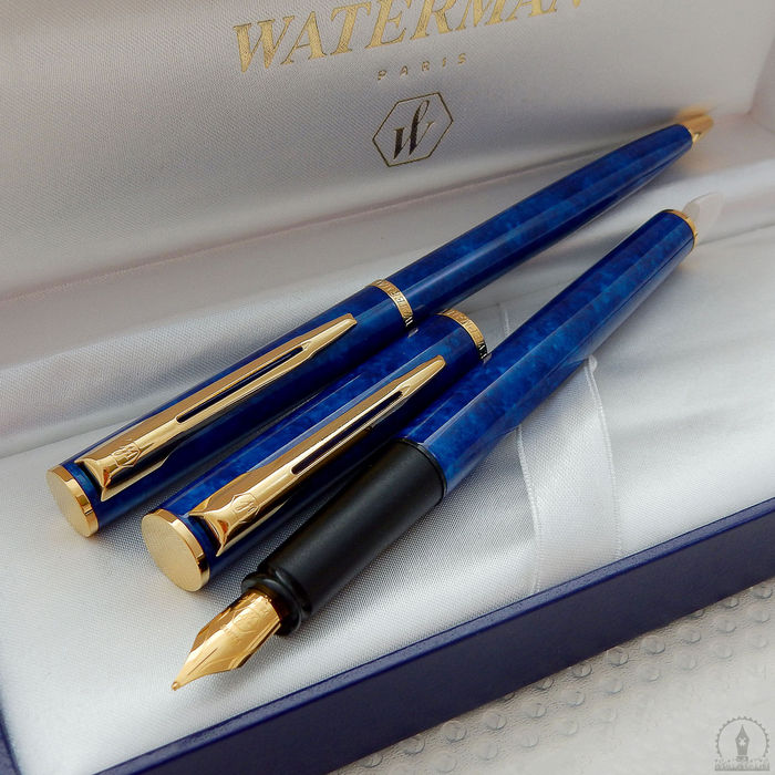 Waterman Apostrophe Ballpoint + Fountain Pen | Marble Blue Lacquer GT | New Old Stock - Mint Condition