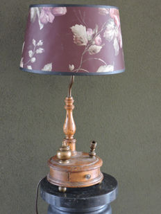 Italian floor lamp with copper holder for a goose feather and ink