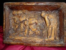 Hand Carved High Relief Board with Harvest Scenes - Portugal - Mid XIX century