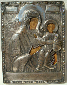 The Mother of God Hodegetria (Smolenskaya) - with silver oklad - Russia - probably 19th century