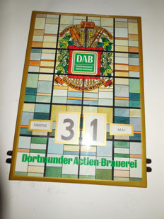"Old advertising sign with adjustable day/date/month from ""Dortmunder Action-Brauerei"""