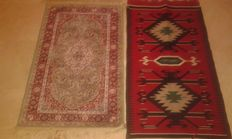 Pair of rugs ,Turkish classic and Indian silk on cotton.Turkey and India