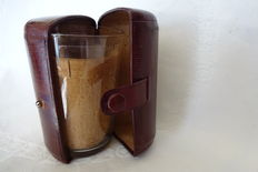 drinking travel set, consisting of 2 glasses in a case made of leather and cork, England, 20th century